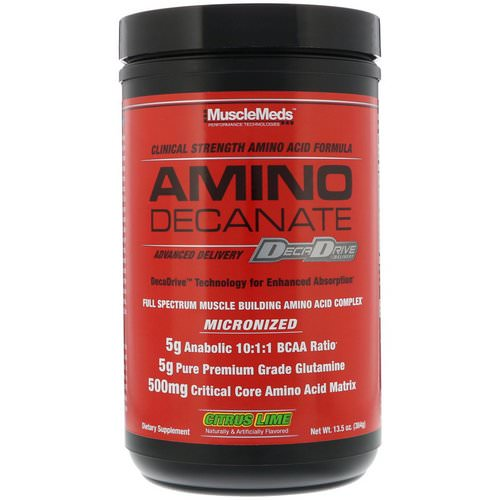 MuscleMeds, Amino Decanate, Citrus Lime, 13.5 oz (384 g) Review