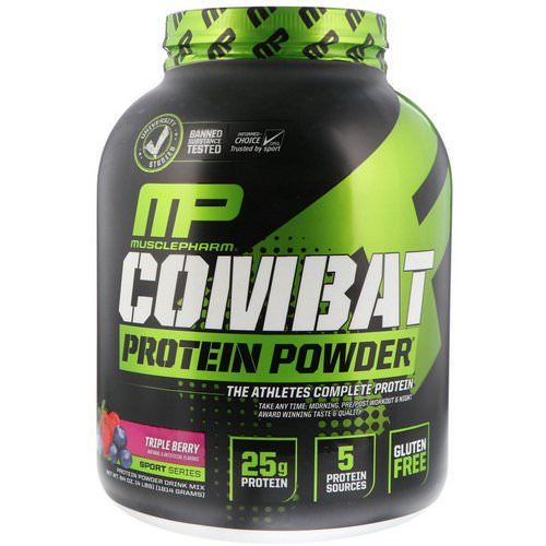 MusclePharm, Combat Protein Powder, Triple Berry, 4 lbs (1814 g) Review