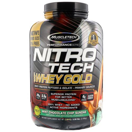 Muscletech, Nitro Tech, 100% Whey Gold, Mint Chocolate Chip Sundae, 5.50 lbs (2.49 kg) Review