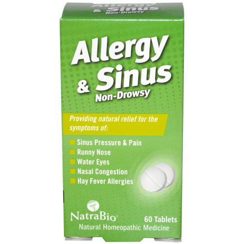 NatraBio, Allergy & Sinus, Non-Drowsy, 60 Tablets Review