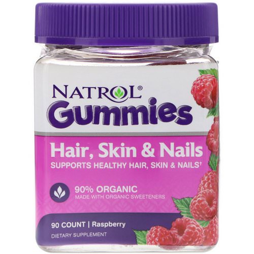 Natrol, Gummies, Hair, Skin & Nails, Raspberry, 90 Count Review