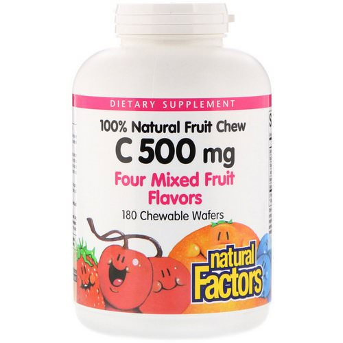 Natural Factors, 100% Natural Fruit Chew C, Four Mixed Fruit Flavors, 500 mg, 180 Chewable Wafers Review
