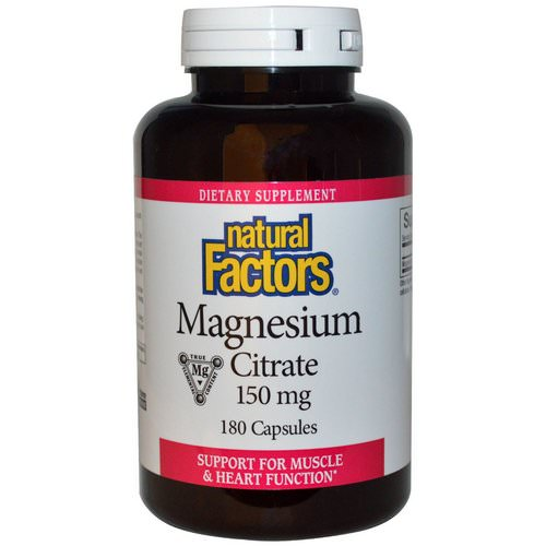 Natural Factors, Magnesium Citrate, 150 mg, 180 Capsules Review