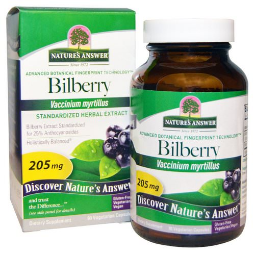 Nature's Answer, Bilberry, Standardized Herbal Extract, 205 mg, 90 Vegetarian Capsules Review