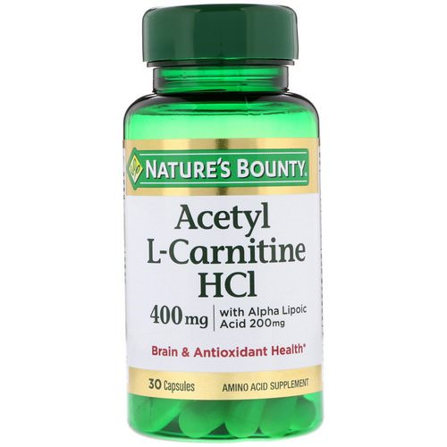 Nature's Bounty, Acetyl L-Carnitine HCI, 400 mg, 30 Capsules Review