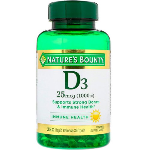 Nature's Bounty, D3, 25 mcg (1000 IU), 250 Rapid Release Softgels Review