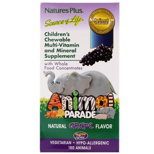 Nature's Plus, Children's Chewable Multi-Vitamin and Mineral Supplement, Natural Grape Flavor, 180 Animals Review