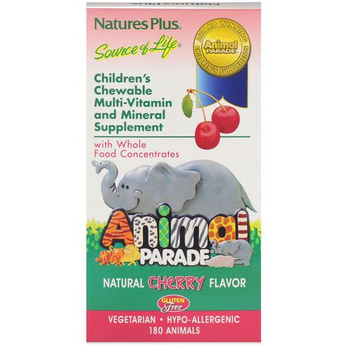 Nature's Plus, Source of Life, Animal Parade, Children's Chewable Multi-Vitamin and Mineral Supplement, Natural Cherry Flavor, 180 Animals Review