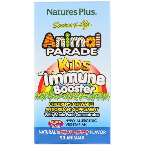 Nature's Plus, Source of Life, Animal Parade, Kids Immune Booster, Natural Tropical Berry Flavor, 90 Animals Review