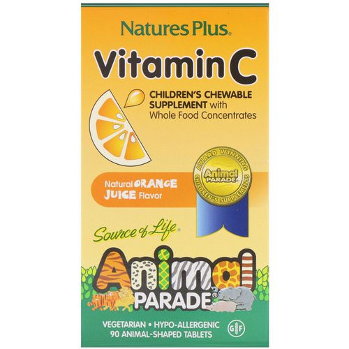 Nature's Plus, Source of Life, Animal Parade, Vitamin C, Children's Chewable Supplement, Natural Orange Juice Flavor, 90 Animal-Shaped Tablets Review