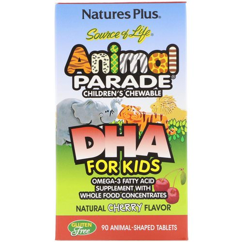Nature's Plus, Source of Life, DHA for Kids, Animal Parade, Children's Chewable, Natural Cherry Flavor, 90 Animal-Shaped Tablets Review