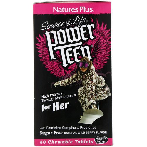 Nature's Plus, Source of Life, Power Teen, For Her, Sugar Free, Natural Wild Berry Flavor, 60 Chewable Tablets Review