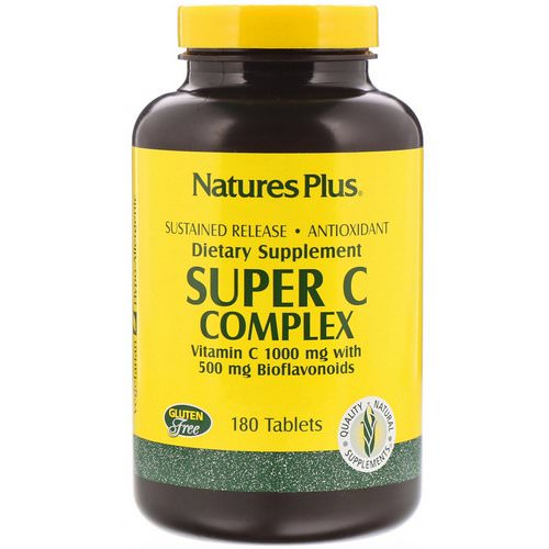 Nature's Plus, Super C Complex, Vitamin C 1000 mg with 500 mg Bioflavonoids, 180 Tablets Review