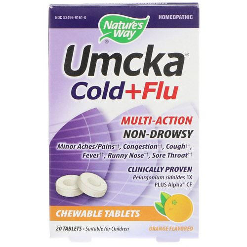 Nature's Way, Umcka, Cold+Flu, Orange, 20 Chewable Tablets Review