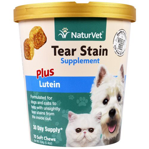 NaturVet, Tear Stain for Dogs & Cats, Plus Lutein, 70 Soft Chews, 5.4 oz (154 g) Review
