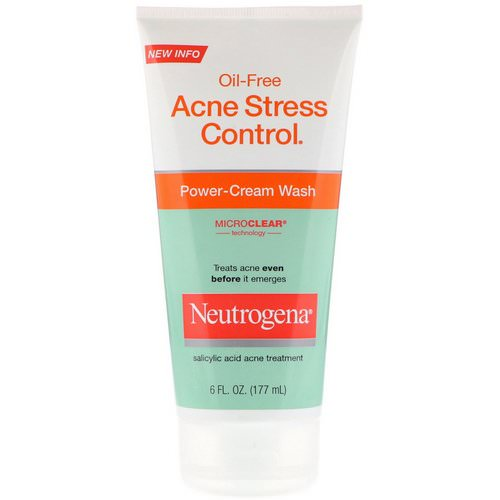 Neutrogena, Oil-Free Acne Stress Control, Power-Cream Wash, 6 fl oz (177 ml) Review