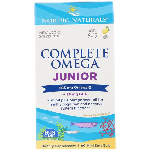 Nordic Naturals, Complete Omega Junior, Lemon, 283 mg, 90 Mini Soft Gels Review