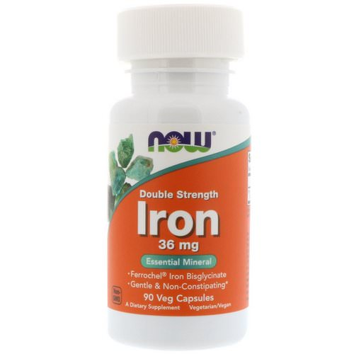 Now Foods, Iron, Double Strength, 36 mg, 90 Veg Capsules Review