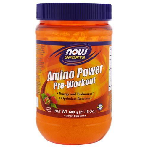 Now Foods, Sports, Amino Power Pre-Workout, Natural Raspberry Flavor, 1.3 lbs (600 g) Review