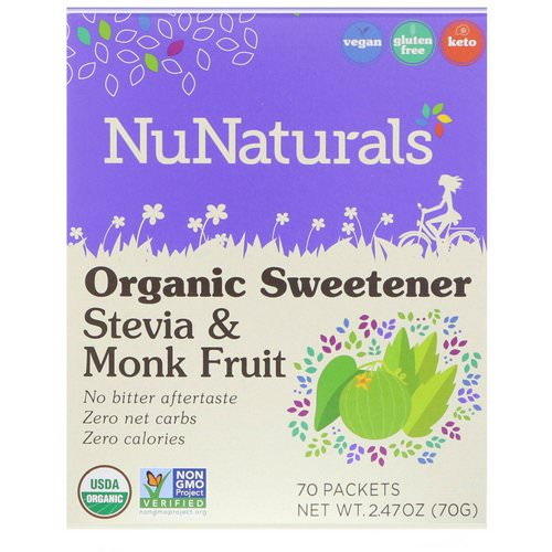NuNaturals, Organic Sweetener, Stevia and Monk Fruit, 70 Packets, 2.47 oz (70 g) Review