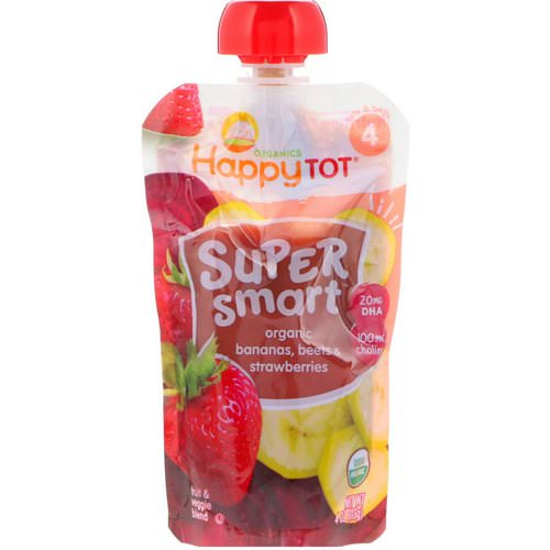 Happy Family Organics, Happy Tot, Super Smart, Fruit & Veggie Blend, Organic Bananas, Beets & Strawberries, Stage 4, 4 oz (113 g) Review