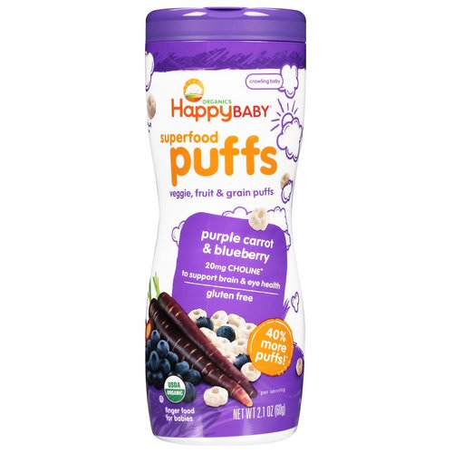 Happy Family Organics, Superfood Puffs Veggie, Fruit & Grain, Purple Carrot & Blueberry, 2.1 oz (60 g) Review