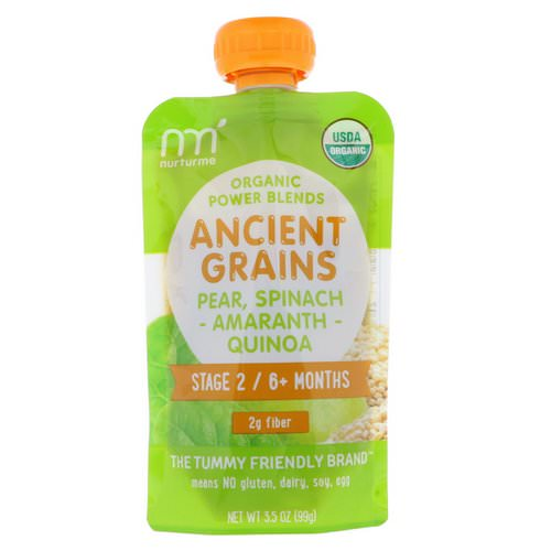 NurturMe, Organic Power Blends, Ancient Grains, Stage 2/6+ Months, Pear, Spinach, Amaranth, Quinoa, 3.5 oz (99 g) Review
