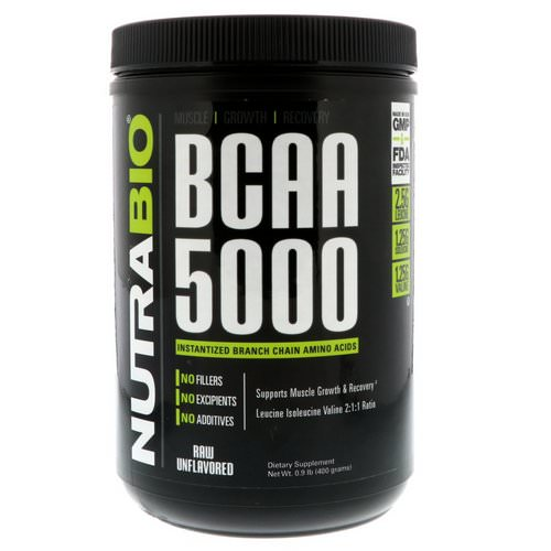 NutraBio Labs, BCAA 5000, Raw Unflavored, 0.9 lb (400 g) Review