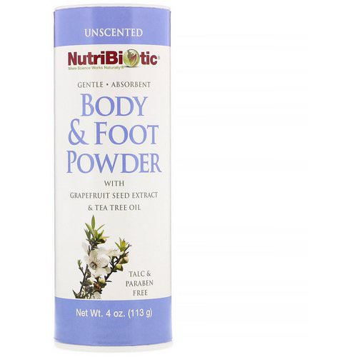 NutriBiotic, Body & Foot Powder with Grapefruit Seed Extract & Tea Tree Oil, Unscented, 4 oz (113 g) Review
