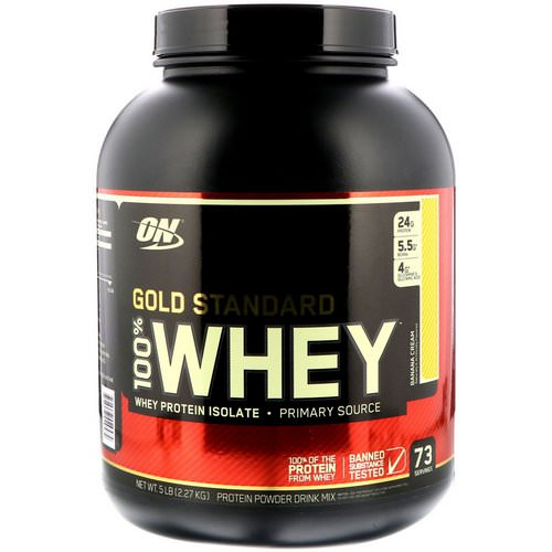 Optimum Nutrition, Gold Standard, 100% Whey, Banana Cream, 5 lbs (2.27 kg) Review
