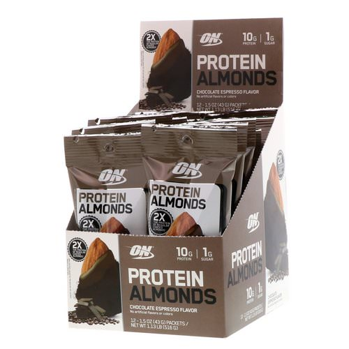Optimum Nutrition, Protein Almonds, Chocolate Espresso, 12 Packets, 1.5 oz (43 g) Each Review