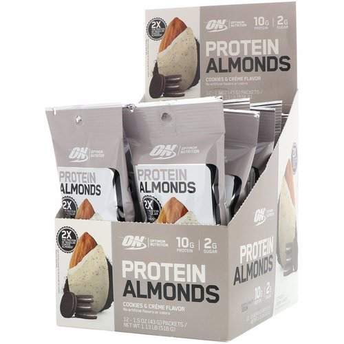 Optimum Nutrition, Protein Almonds, Cookies & Creme, 12 Packets, 1.5 oz (43 g) Each Review