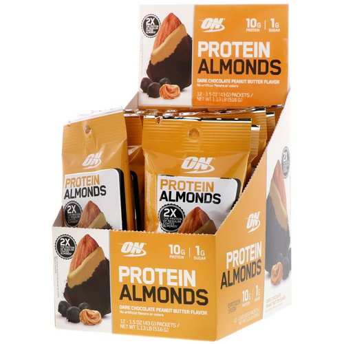 Optimum Nutrition, Protein Almonds, Dark Chocolate Peanut Butter, 12 Packets, 1.5 oz (43 g) Each Review