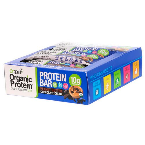 Orgain, Organic Plant-Based Protein Bar, Peanut Butter Chocolate Chunk, 12 Bars, 1.41 oz (40 g) Each Review