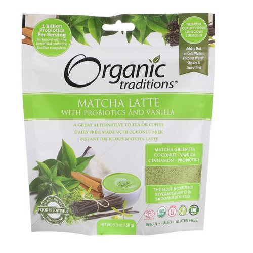 Organic Traditions, Matcha Latte with Probiotics and Vanilla, 5.3 oz (150 g) Review
