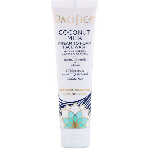 Pacifica, Coconut Milk, Cream to Foam Face Wash, 1.4 fl oz (40 ml) Review