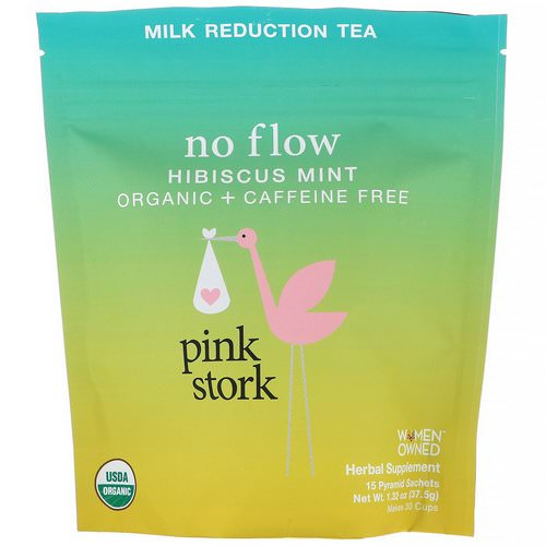 Pink Stork, No Flow, Milk Reduction Tea, Hibiscus Mint, Caffeine Free, 15 Pyramid Sachets, 1.32 oz (37.5 g) Review