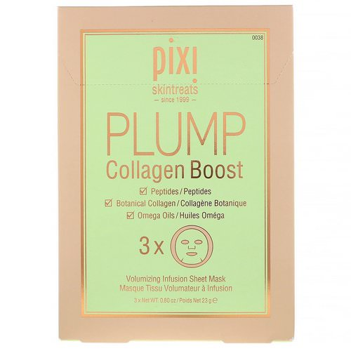 Pixi Beauty, Skintreats, Plump Collagen Boost, Volumizing Infusion Sheet Mask, 3 Sheets Review