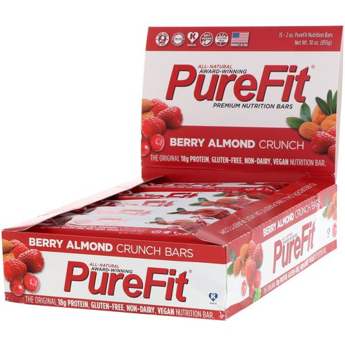 PureFit Bars, Premium Nutrition Bars, Berry Almond Crunch, 15 Bars, 2 oz (57 g) Each Review