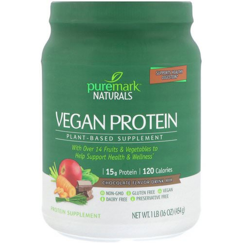 PureMark Naturals, Vegan Protein, Plant-Based Supplement, Chocolate Flavor Drink Mix, 16 oz (454 g) Review