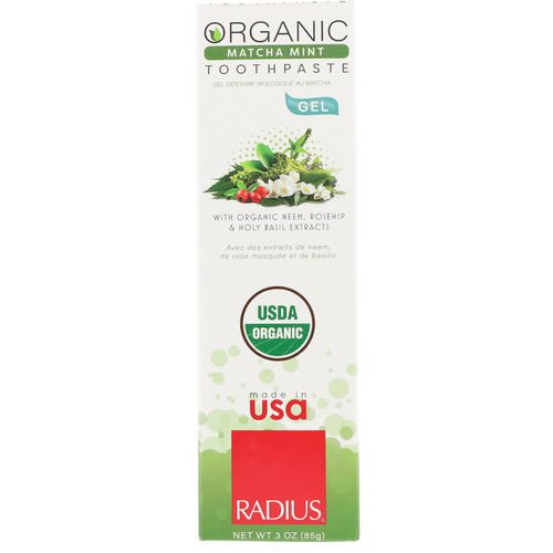 RADIUS, Organic Gel Toothpaste, Matcha Mint, 3 oz (85 g) Review