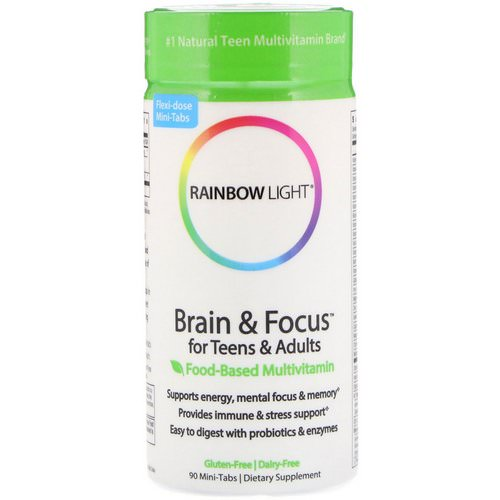 Rainbow Light, Brain & Focus for Teens & Adults, Food-Based Multivitamin, 90 Mini-Tabs Review