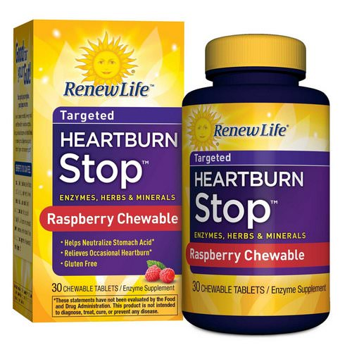Renew Life, Heartburn Stop, Raspberry Flavor, 30 Chewable Tablets Review