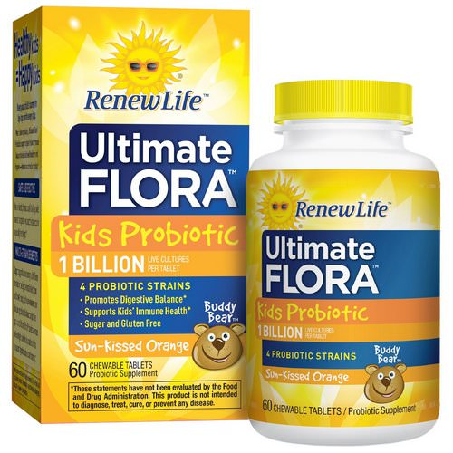 Renew Life, Ultimate Flora, Kids Probiotic, Sun-Kissed Orange, 1 Billion Live Cultures, 60 Chewable Tablets Review