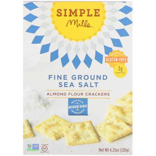 Simple Mills, Naturally Gluten-Free, Almond Flour Crackers, Fine Ground Sea Salt, 4.25 oz (120 g) Review