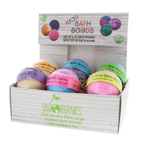 Sky Organics, Kids Bath Bombs with Surprise Toys, 6 Bath Bombs Review