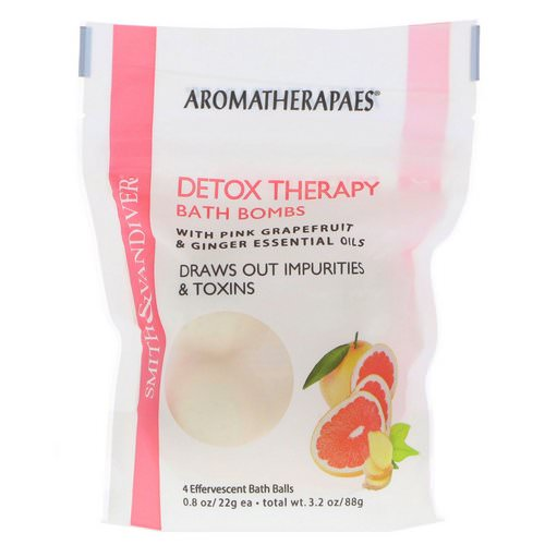 Smith & Vandiver, Detox Therapy Bath Bombs with Pink Grapefruit & Ginger Essential Oils, 4 Effervescent Bath Balls, 0.8 oz (22 g) Each Review