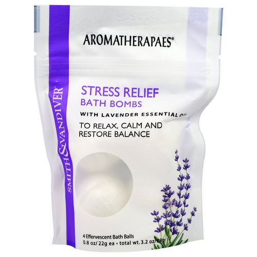 Smith & Vandiver, Stress Relief Bath Bombs with Lavender Essential, 4 Effervescent Bath Balls, 0.8 oz (22 g) Each Review