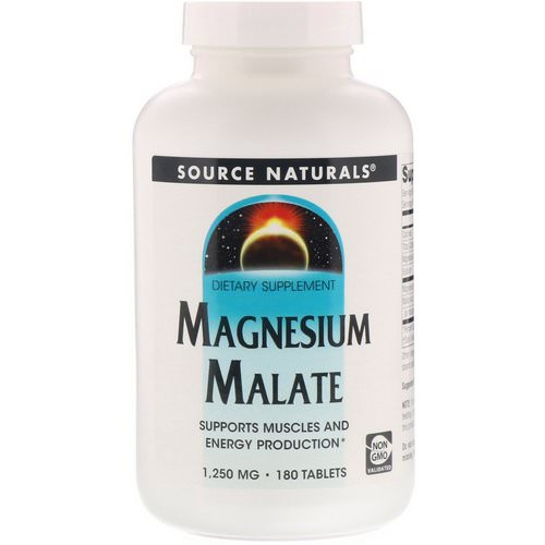 Source Naturals, Magnesium Malate, 1,250 mg, 180 Tablets Review