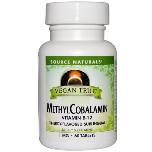 Source Naturals, Vegan True, MethylCobalamin, Cherry Flavor, 1 mg, 60 Sublingual Tablets Review